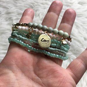 Jewelry - Bundle Of 10 Jade Stretchy Bracelets NWT